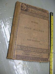 John Milton An Essay By Lord Macaulay Eclectic English Classics   Image Is Loading Johnmiltonanessaybylordmacaulayeclectic