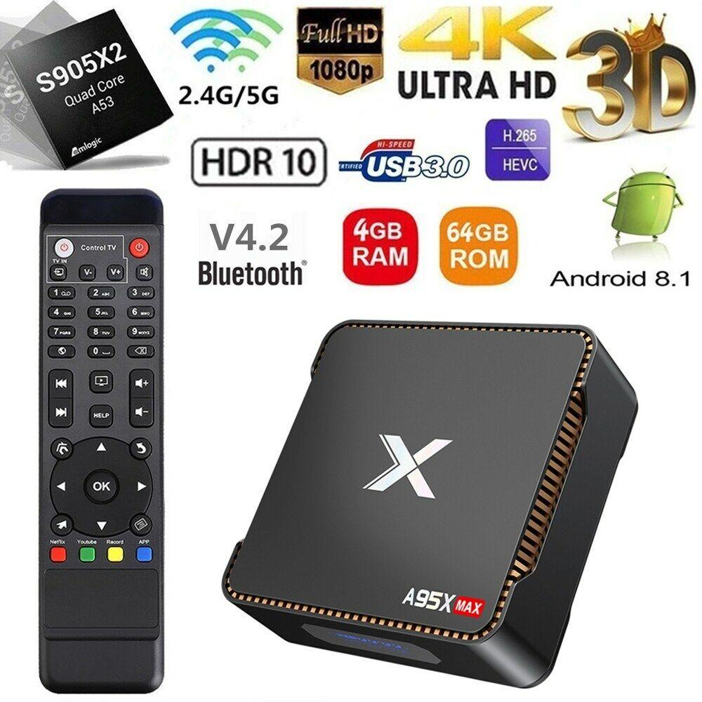 A95X MAX S905X2 Android 8.1 TV BOX 4GB+64GB Quad Core 2.4&5G WiFi 4K Media BT4.2 a95x android box core max media quad s905x2 wifi