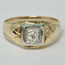 Gents Mens 14k Yellow European Cut 1/5 Ct Diamond Solitaire Estate Ring Size 10