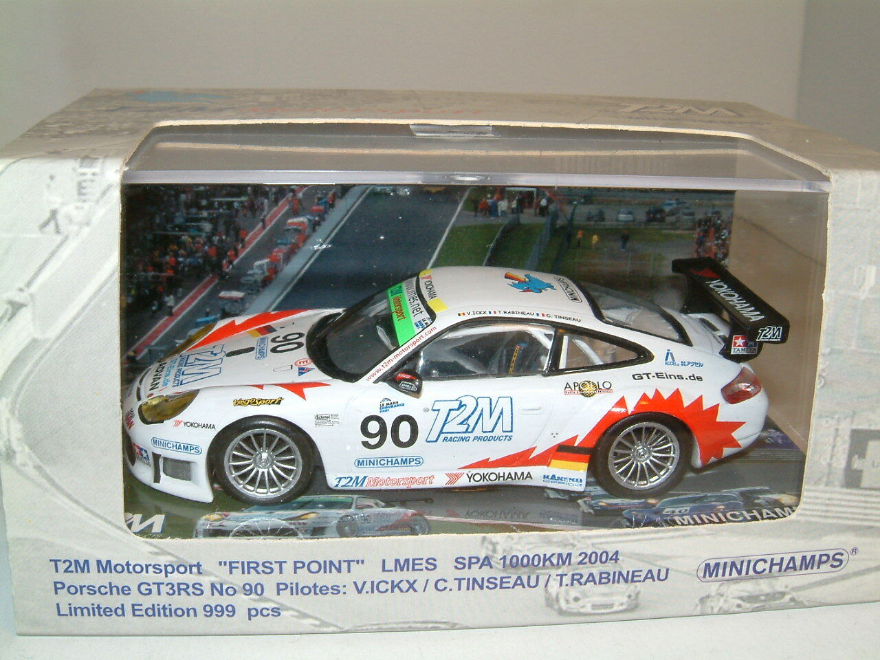 ahorra hasta un 70% 1 43 Porsche 911 GT3 GT3 GT3 RS  90 2004 Spa LMES T2M Motorsport, Minichamps 999 Ltd Ed  precios mas baratos