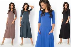 Kleid lang mit Taschen A-Line Top 3/4 Arm Gr. 36 38 40 42 44 46, B30