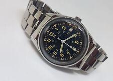 Raro Vintage Usado Bulova Dial Negro Reloj Automático Fecha Hombre