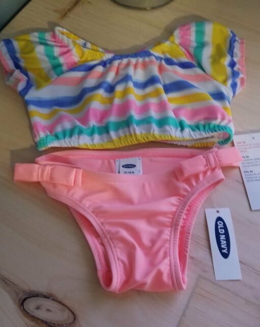 01cca664846a6 New Old Navy Girls Infant Peach Striped 2 Piece Swimsuit Size 12-18 Months