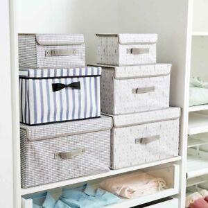 Fabric-Storage-Box-Cube-Bin-Basket-Closet-Wardrobe-Organizer-Container-W-Lid