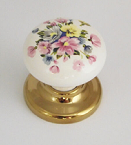 10 x White Porcelain Ceramic Cupboard Door Knobs Brass Base 38mm