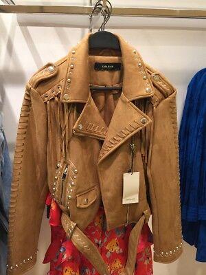 BNWT $219 ZARA Textured Faux Fur Leather Biker Jacket Size XS S M L XL 2969//285