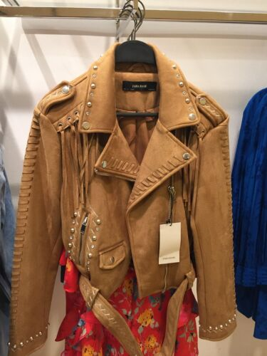 Daim L M 037 Veste Xs Bnwt XL S Biker Taille À 3046 Camel Zara Franges De En PqxpxX7a