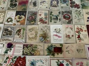Lot-of-50-1900s-Novelty-Greetings-Postcards-Silk-Metal-Ribbons-Booklets-s773