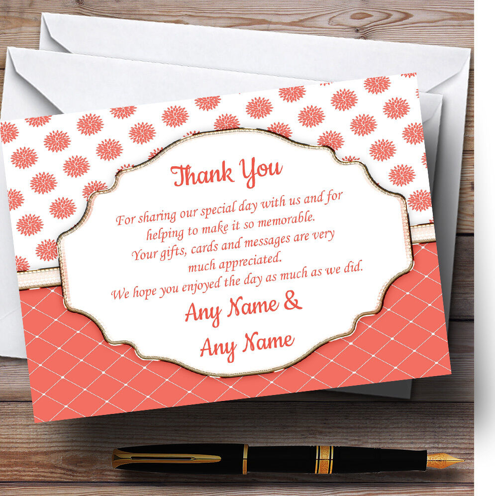 Coral And Weiß Flowers Quilt Personalised Wedding Thank You Cards