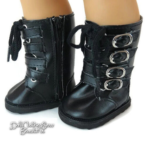 "Black Combat Boots! made for 18"" American Girl Doll Clothes Shoes"