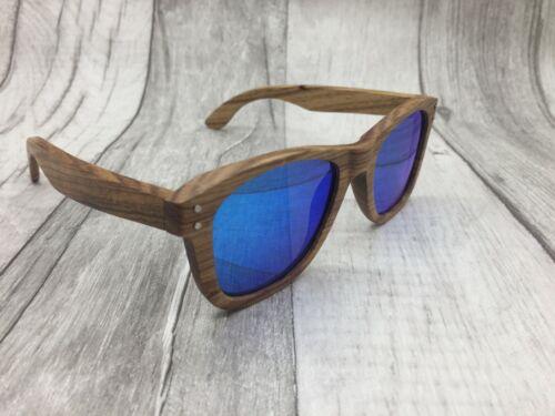 Men/'s 2019 Zebra Wood Frame Blue Mirror TAC Polarized Sunglasses 100/% UV 400