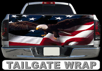 T195 American Flag Eagle Tailgate Wrap Vinyl Graphic Decal