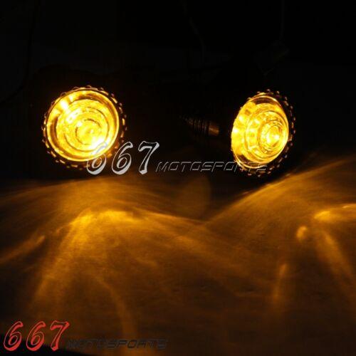 2PCS Amber LED Turn Signal Light Indicator 10mm For Harley Bobber Chopper