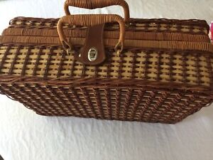 Wicker Rattan Suitcase Style Picnic Basket  for 4, Vintage