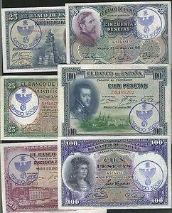 LOTE-6-BILLETES-REPUBLICA-PESETAS-1925-1931-RESELLO-FALANGE-SERVICIO-SOCIAL