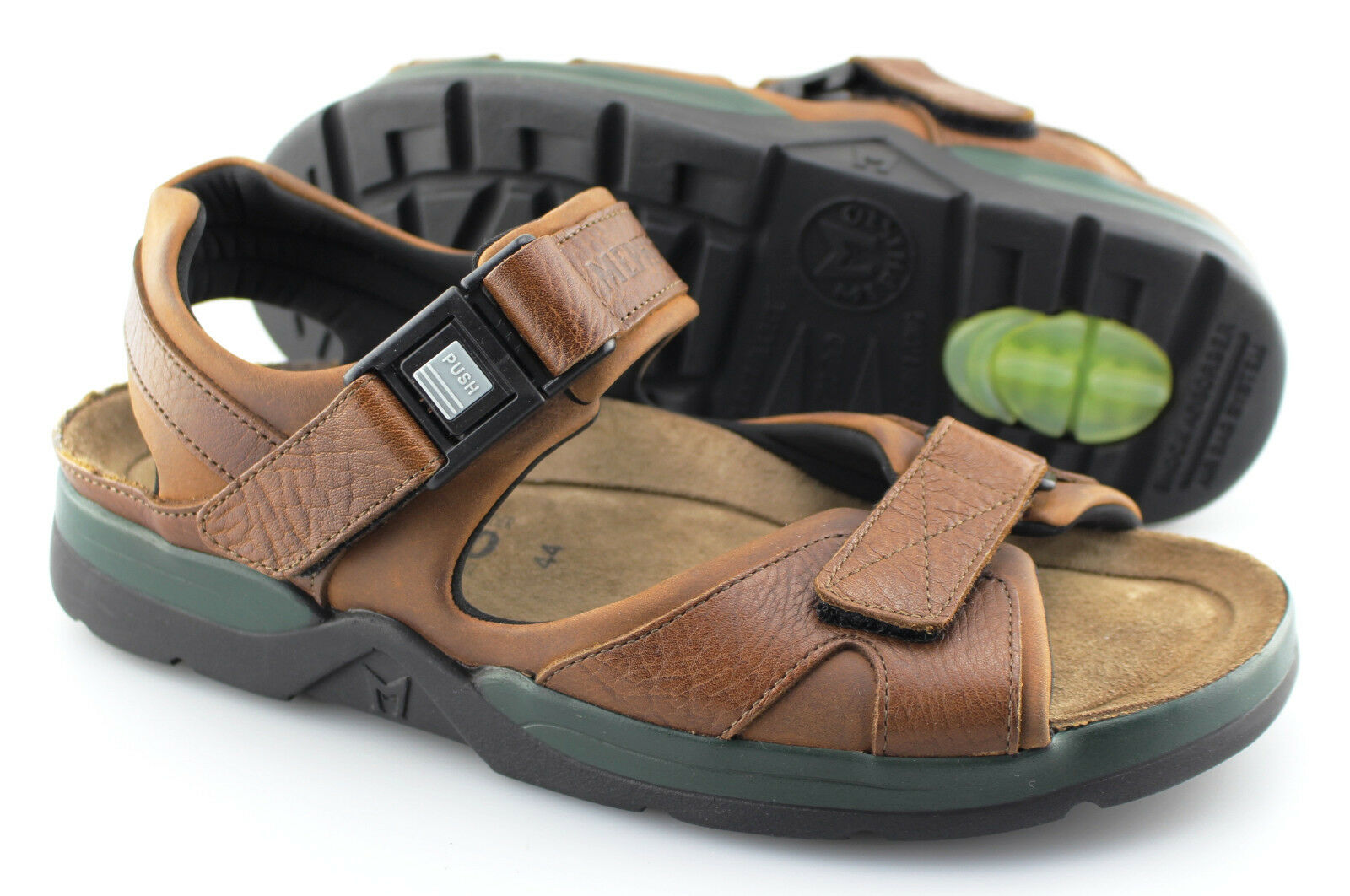Men's MEPHISTO 'Shark' Brown Leather Sandals Size US 10 EUR 44