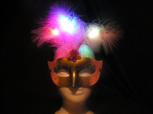 Multi-Color One Size Assorted Light up LED Feather Mask 4 Pack Masquerade