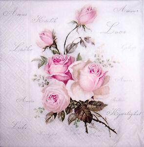 4 servietten pink love roses vintage nostalgie rosen 7350085180429 ebay. Black Bedroom Furniture Sets. Home Design Ideas