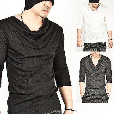 New Mens Fashion Cool Stylish Avant-garde Unique Shirring Cowl Elbow Tee Shirts