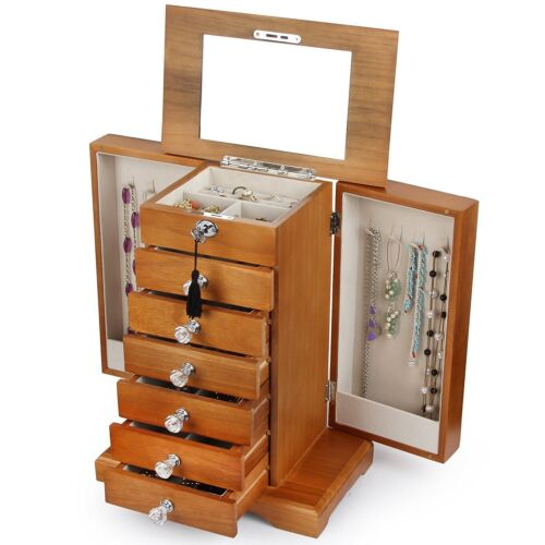 Large Real Wood Wooden Jewelry Box Locked with a Key WJC7AK