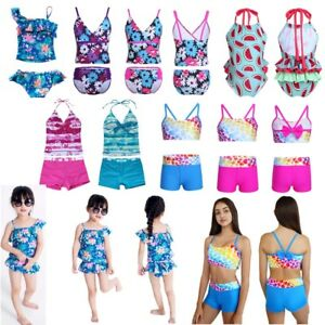 Girls-Two-Piece-Tankini-Swimsuit-Halter-Bathing-Suit-Tank-Top-Bottoms-Swimwear