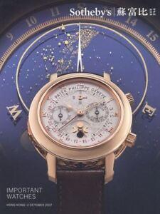 Sotheby's Catalogue Hong Kong Fine Timepieces 13/10/2017  HB