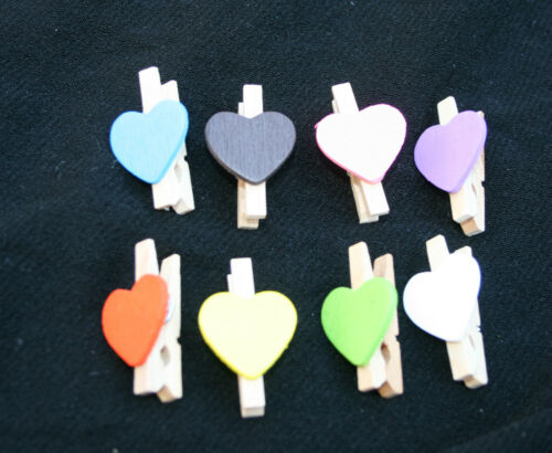 MINIATURES WOOD PEG VALENTINES HEARTS 10 MIXED COLOURS PAPERCRAFT SCRAPBOOKING