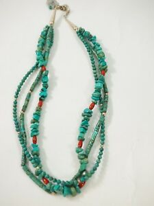 Ladies-3-Strand-Turquoise-Nugget-Turned-and-Round-Heishi-Necklace-18-034