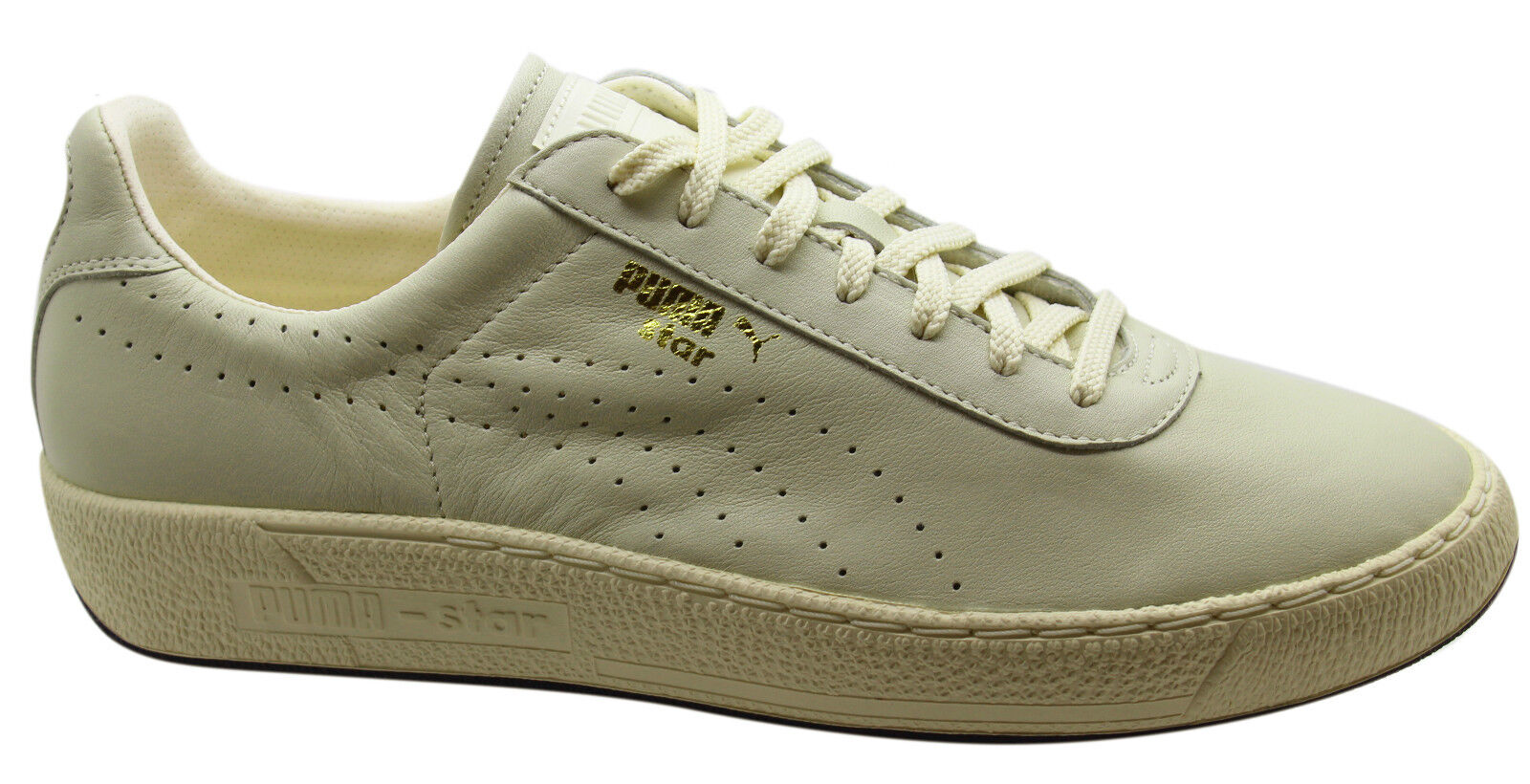 Puma Star Mens Trainers Low Shoes Off White Leather Lace Up 357763 02 U19