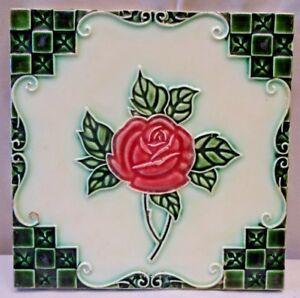 Tiles Conscientious Tile Rose Red Majolica Japan Dk Vintage Art Nouveau Porcelain Collectibles#241 Extremely Efficient In Preserving Heat Antiques