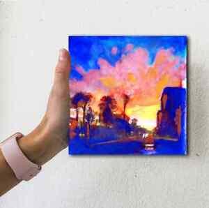 Los-Angeles-CA-Beautiful-Fine-Arts-4x4-Art-Landscape-Oil-Painting-Home-Decor