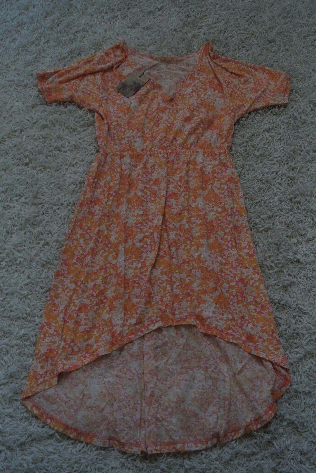 ALTERNATIVE APPAREL FLAMINGO DITZY HIGH-LOW Flowing Dress M NWT 98 orange Flower