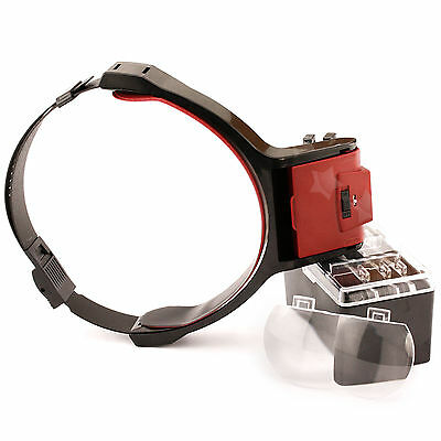 Loop Head Band 4 changeable Lens Magnifier Magnifying Glass  with LED Light Bulb
