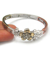 Mom's Blessing Clear Crystal 3 Tone Flower Family Love Stretch Bracelet
