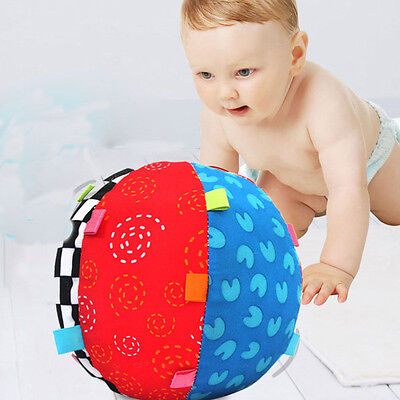 Colorful Soft Rattle Hand Grasp Ring Bell Baby Kids Educational Music Ball Toys