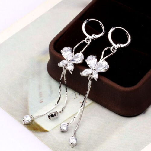 Butterfly Pattern White Topaz Lady Lovely Smart Dangle Boucle D/'Oreille Nouveau Design