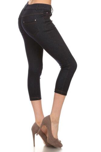 Basic Five Pockets Stretch Capri Jegging Tights Pants S ~ 3XL