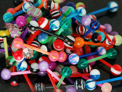 Wholesale 50 Pc Assorted Designs Bio- Flexible Barbell Tongue Rings, Nipples