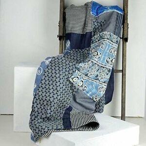 Indigo Cotton Throw Blanket Soft Handmade Bedspread Beach Towel Sofa Coverlet
