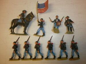 Konvolut-10-alte-Elastolin-Kunststoff-Figuren-Nordstaatler-USA-Buergerkrieg-4cm