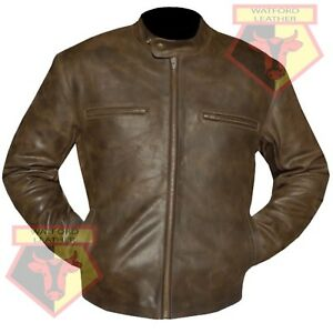 MEN-039-S-BROWN-REAL-CONTRABAND-COWHIDE-LEATHER-SOFT-LEATHER-JACKET-XS-5XL-SIZES