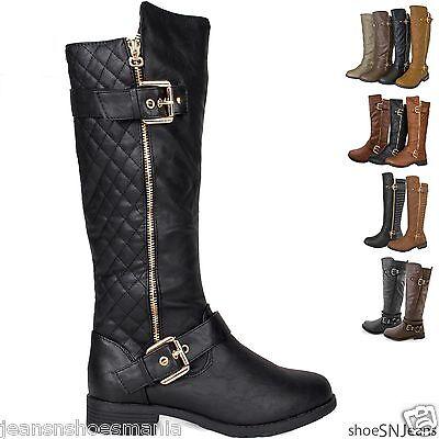 NEW Women's Hot Fashion Knee High Riding Flat Heel Boots Zipper Buckle Flat Heel
