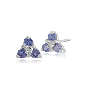 Gemondo-9ct-Oro-Blanco-Tanzanita-amp-Diamond-Cluster-pendientes-con-Pasador