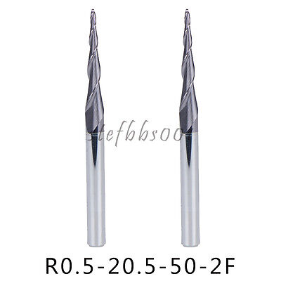 2Pcs Tapered Ball Nose End Mill 0.5MM Top 2 Flutes 4MM Shank Milling Tool Cutter
