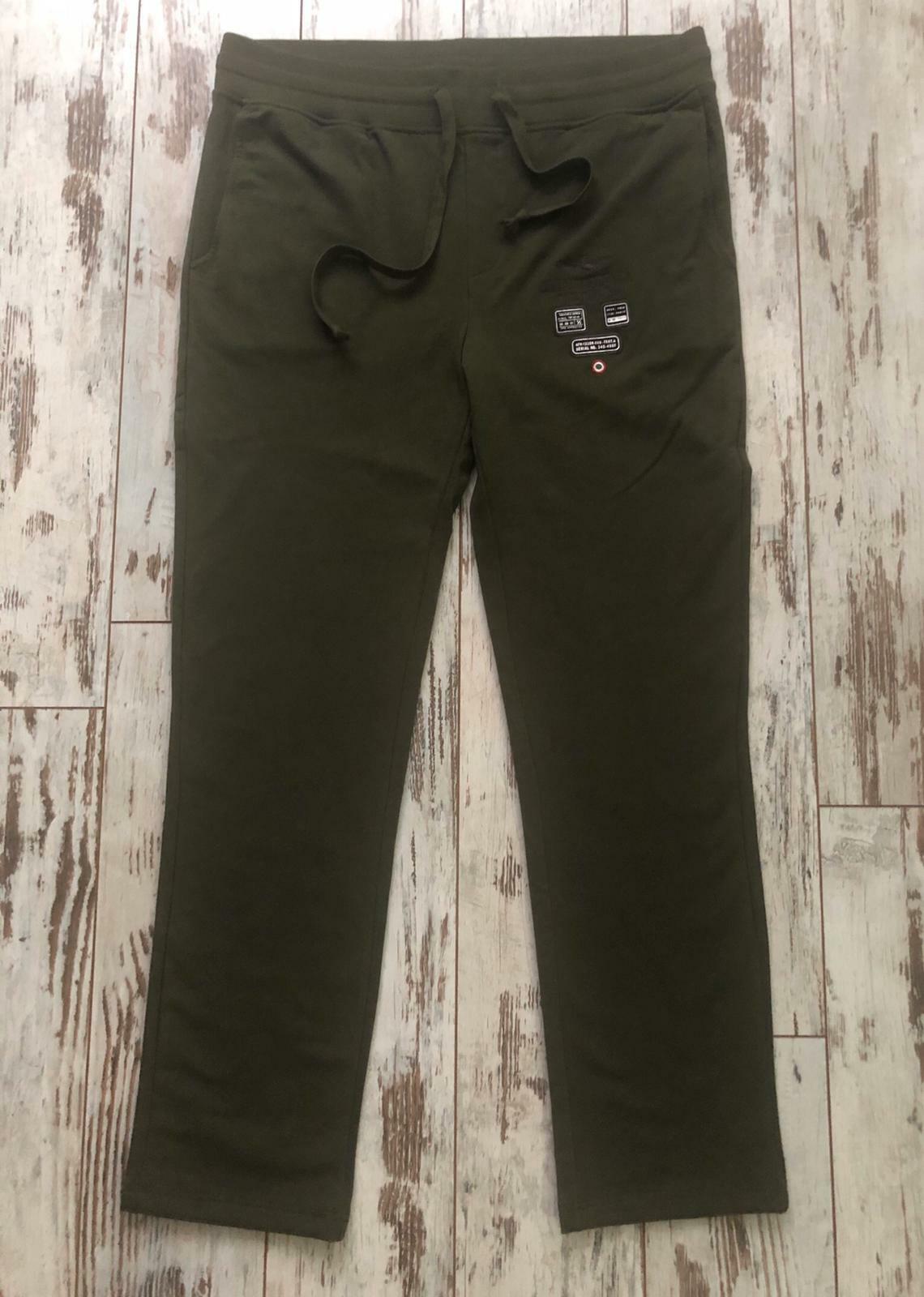 Authentic Aeronautica Militare Khaki Green Logo Embroidery Fleece Sweatpants