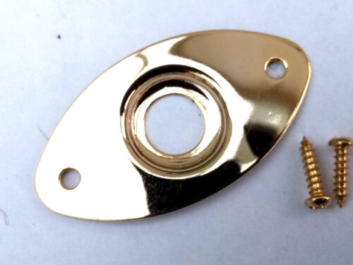 ELECTRIC GUITAR OVAL JACK PLATE GOLD 47x25mm HOLES 37MM APART