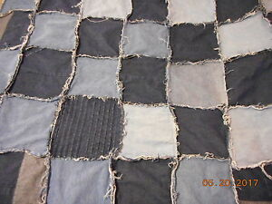 Handmade Frayed Denim Cuddle Blanket-Blues/ Plaid Flannel