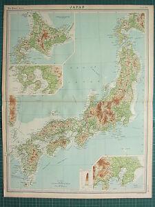 1921 LARGE MAP ~ JAPAN ~ YEZO NAGASAKI KUMAMOTO INSET TOKYO