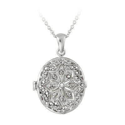 Diamond Accent Filigree Oval Locket Necklace, 18""