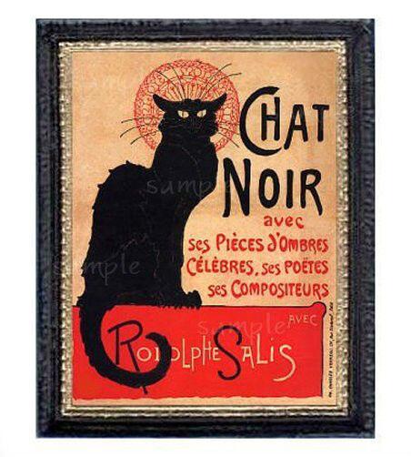 Black Cat Chat Noir Miniature Dollhouse Picture